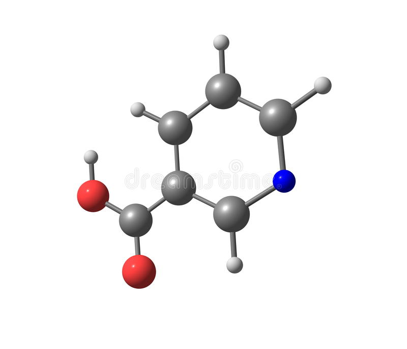 Estrutura molecular da niacina (B3) no fundo branco ilustração stock