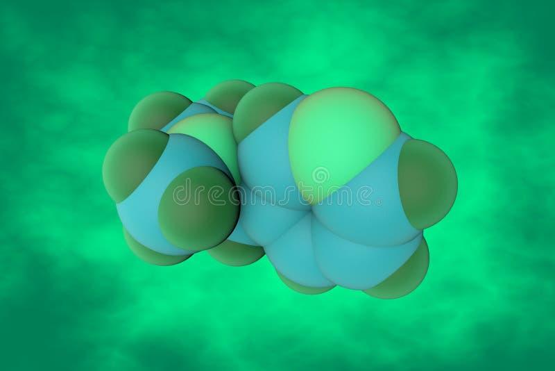 Estrutura molecular da nicotina Está um presente do alcaloide na família do nightshade das plantas Fundo científico 3d ilustração do vetor