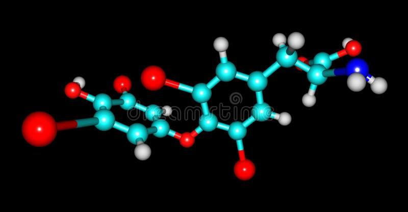 Estrutura molecular de Levothyroxine isolada no preto ilustração do vetor