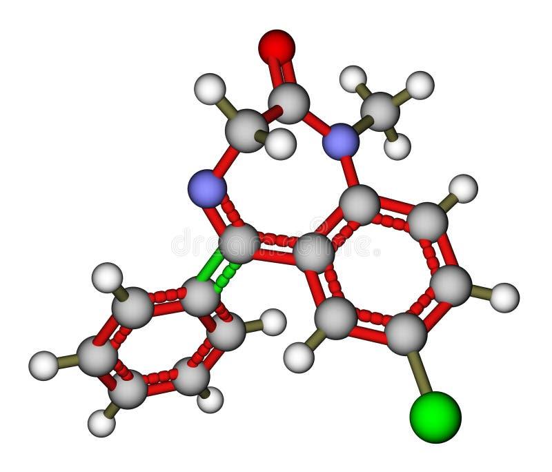 Estrutura molecular do diazepam da medicamentação ilustração do vetor