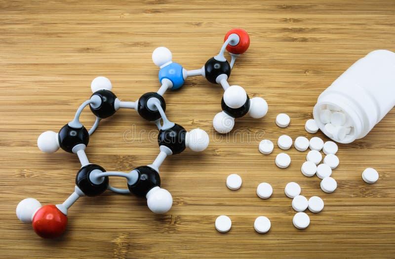 Estrutura molecular do paracetamol imagem de stock