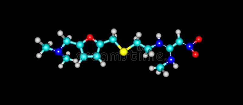 Estrutura molecular do Ranitidine no preto ilustração royalty free