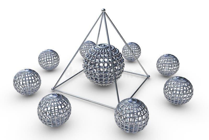 A estrutura molecular rendeu a pirâmide ilustração royalty free