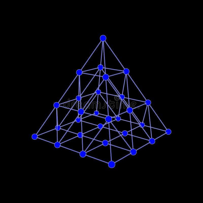Estrutura molecular sob a forma de um tetraedro ilustração royalty free