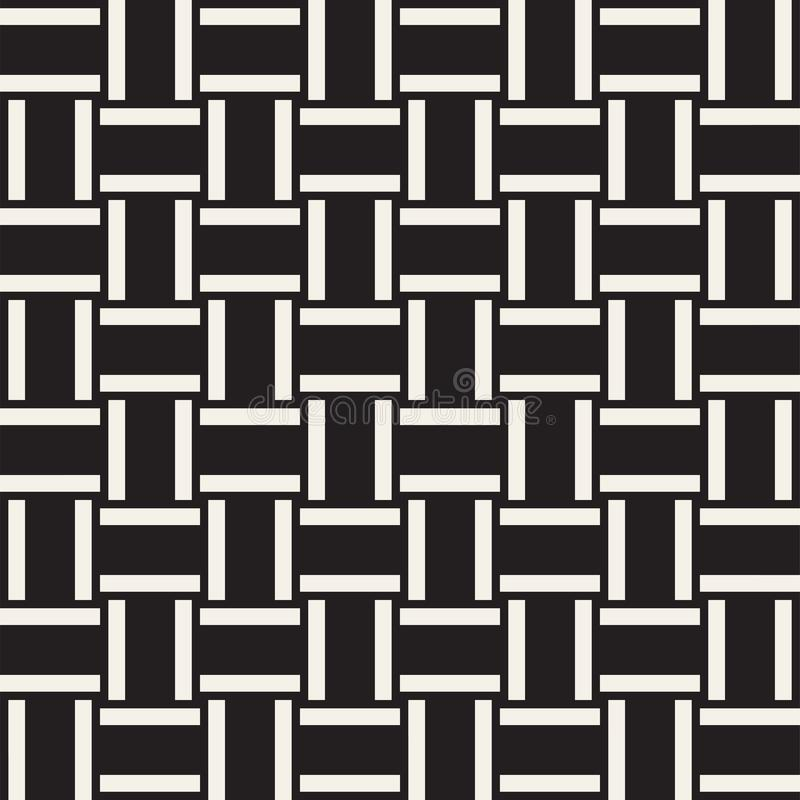 Estrutura na moda do weave de sarja Projeto geométrico abstrato do fundo Teste padrão preto e branco sem emenda do vetor ilustração royalty free