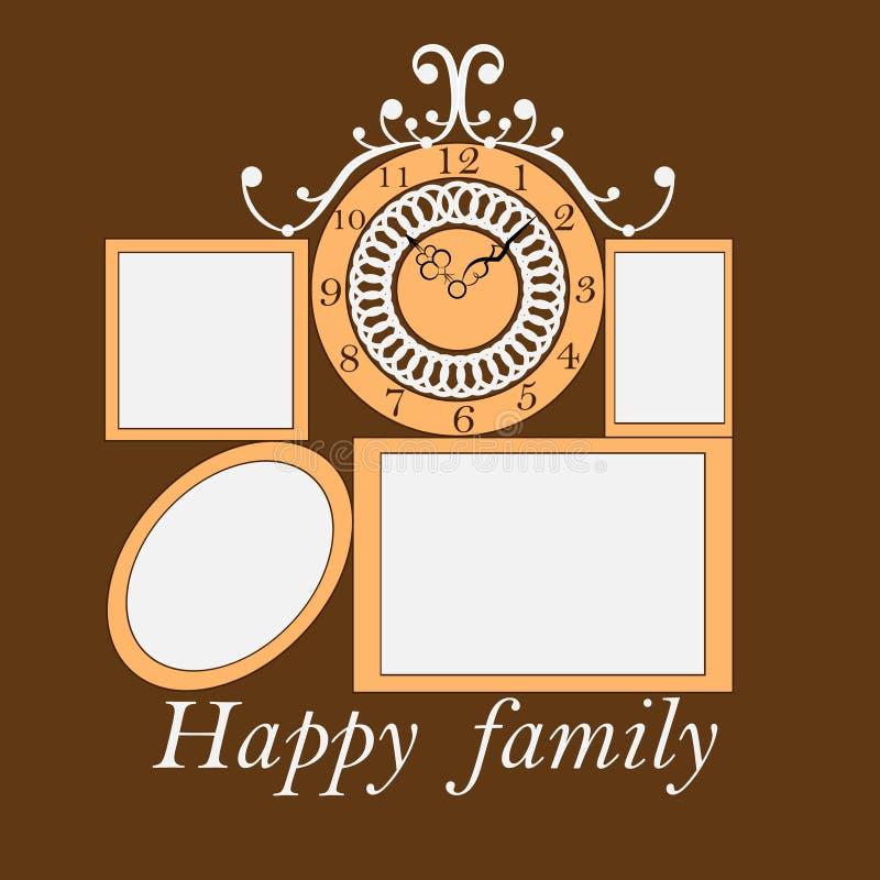 Estrutura para fotos de família em um fundo marrom ilustração royalty free
