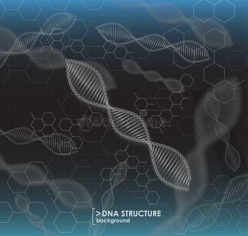 Estrutura preto e branco do ADN do fundo ilustração royalty free