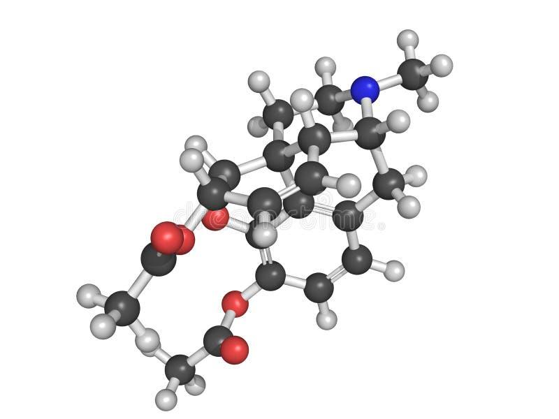 Estrutura química da heroína ilustração do vetor