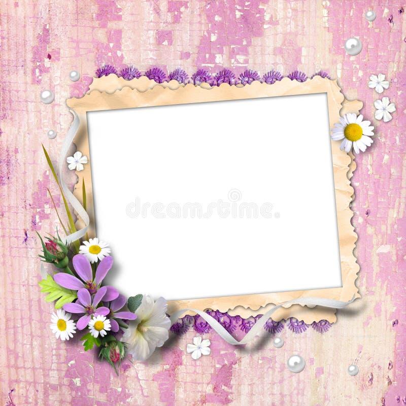 Estrutura retro da foto com flores ilustração do vetor