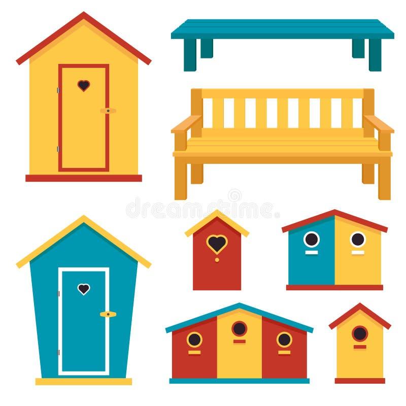 Estruturas de madeira do jardim: toalete, avi?rio, banco Ilustra??o do vetor ilustração royalty free