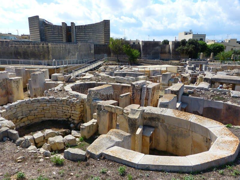 Estruturas megalíticas dos templos de Tarxien imagem de stock