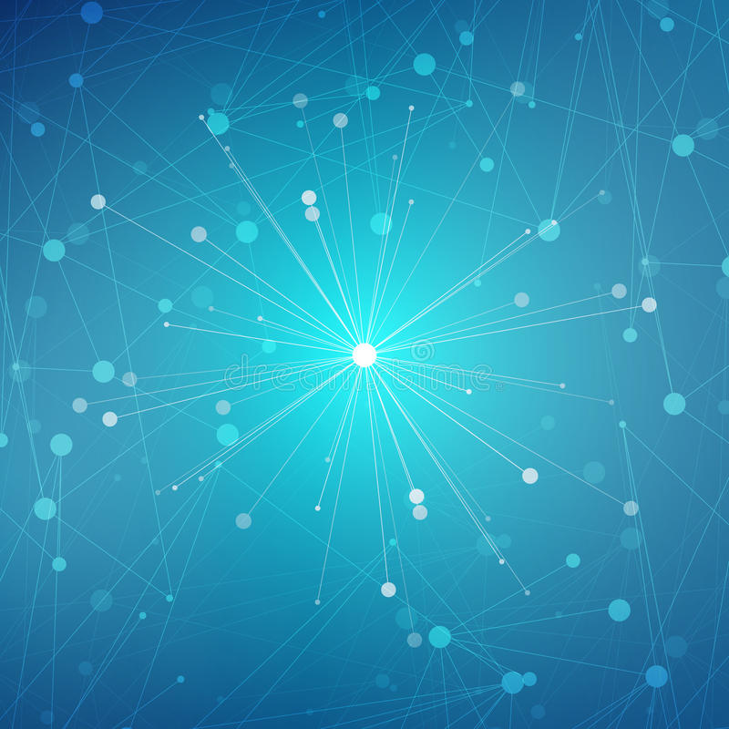 Estruture a molécula e o ADN de uma comunicação, átomo, neurônios Conceito da ciência para seu projeto Linhas conectadas com pont ilustração stock