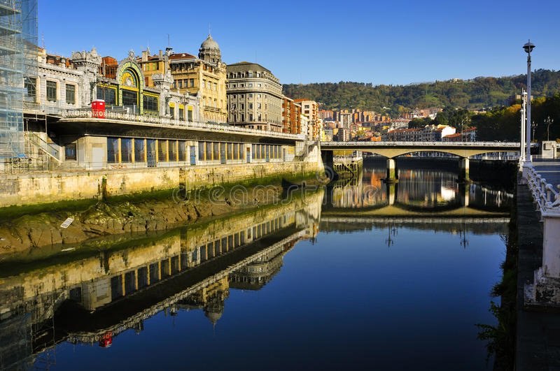 Estuary of Bilbao, Spain. A view of the Estuary of Bilbao and Arenal Bridge, in Bilbao, Spain royalty free stock images
