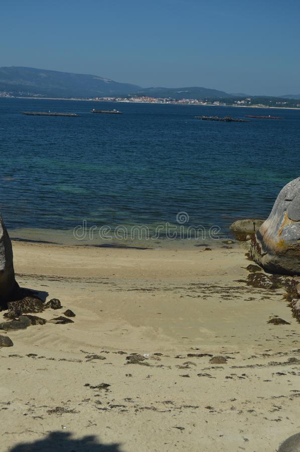 Estuary With Mussel Hatcheries In Its Interior In Arosa Island. Nature, Architecture, History, Travel. August 18, 2014. Isla De. Arosa, Pontevedra, Galicia royalty free stock photos