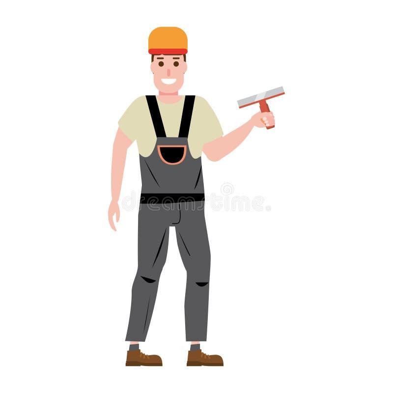 Estucador de emplastro mestre da parede, profissão, caráter, uniforme, faca de massa de vidraceiro da ferramenta Ilustração do ve ilustração stock