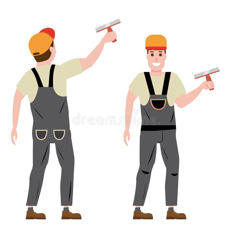 Estucador de emplastro mestre da parede, profissão, caráter, uniforme, faca de massa de vidraceiro da ferramenta Vista dianteira  ilustração royalty free