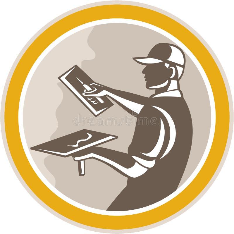 Estucador Masonry Worker Trowel retro ilustração do vetor