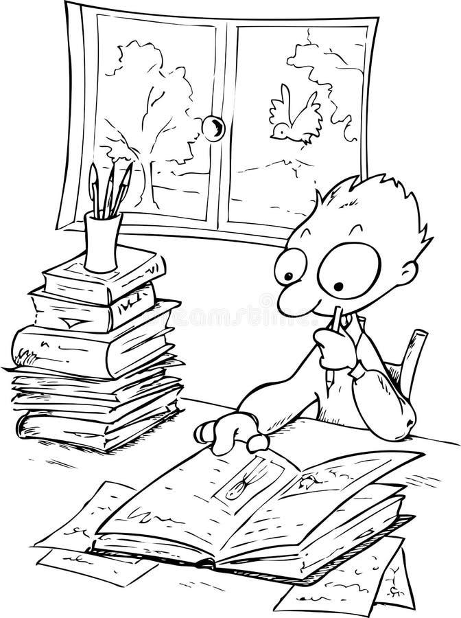 Estudando a ilustração de menino-BW imagens de stock royalty free
