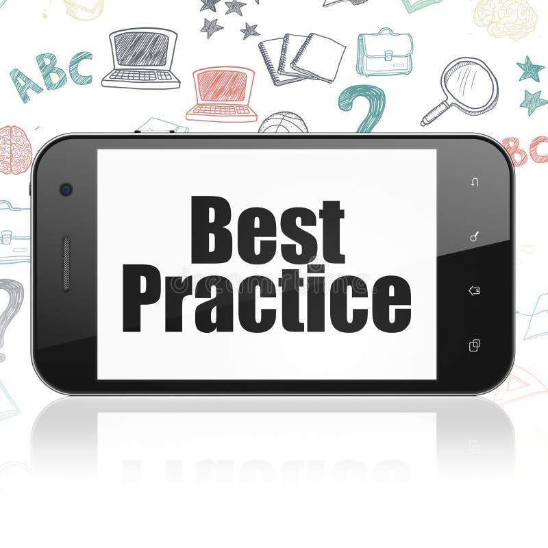 Estudando o conceito: Smartphone com melhor prática na exposição ilustração stock