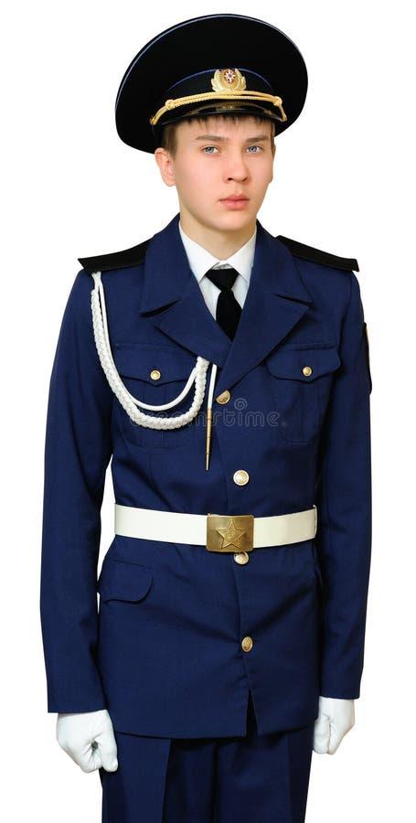 Estudante adolescente da escola militar imagens de stock