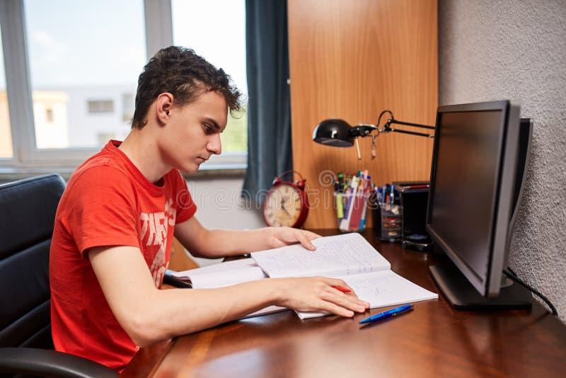 Estudante adolescente que faz trabalhos de casa foto de stock royalty free