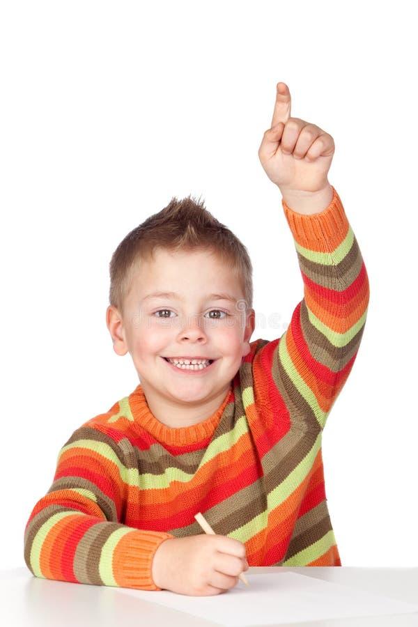 Estudante adorável da criança que pede para falar imagens de stock royalty free