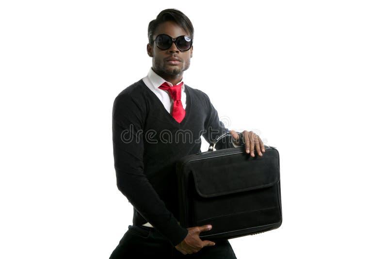 Estudante afro-americano do homem de negócios com portátil foto de stock royalty free