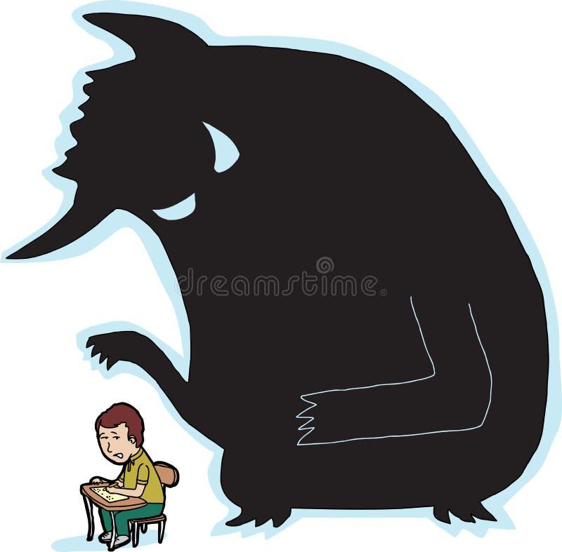 Estudante assustado e monstro ilustração do vetor
