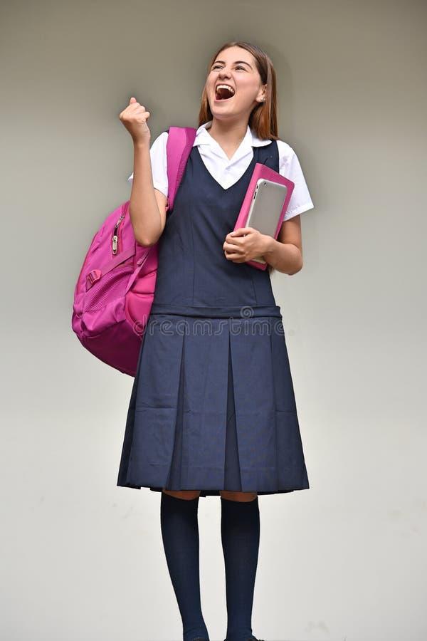 Estudante bem sucedido Teenager School Girl com livros imagens de stock