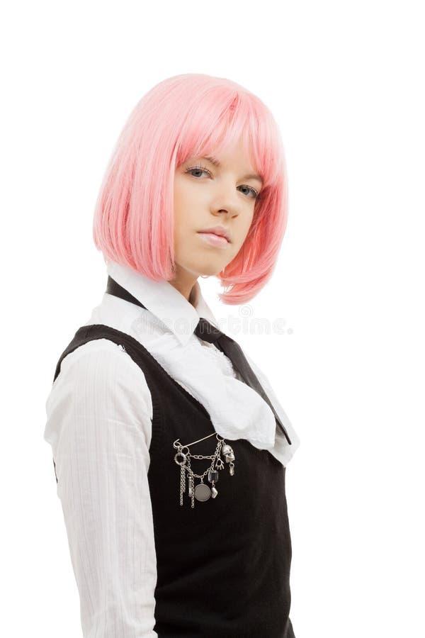 Estudante bonita com cabelo cor-de-rosa imagem de stock royalty free