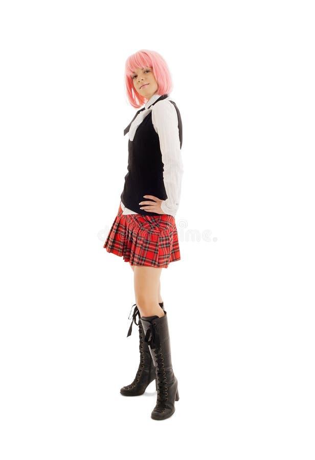Estudante bonita com cabelo cor-de-rosa fotos de stock royalty free