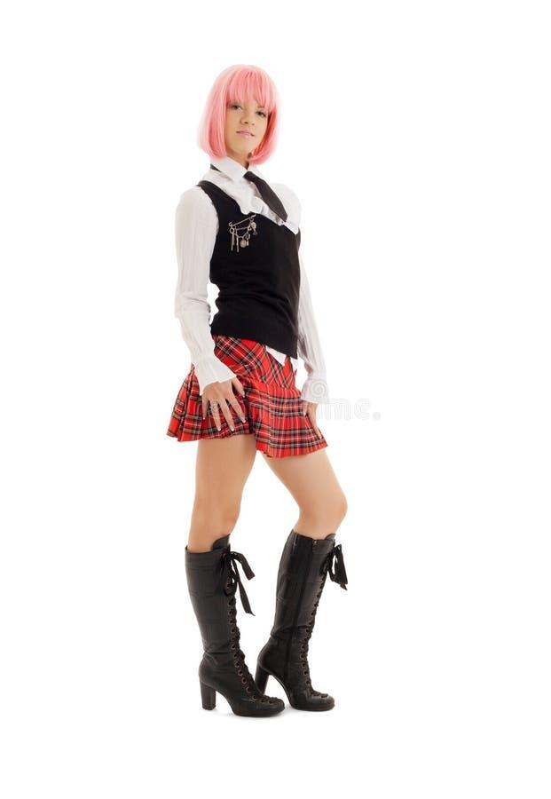 Estudante bonita com cabelo cor-de-rosa imagens de stock