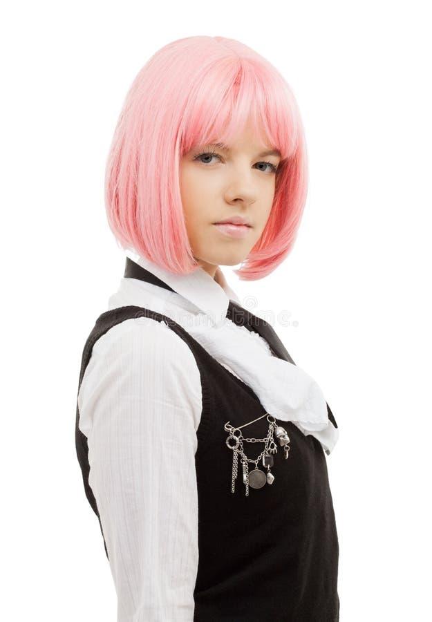 Estudante bonita com cabelo cor-de-rosa imagem de stock