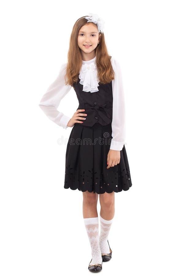 Estudante bonita isolada em um fundo branco imagem de stock