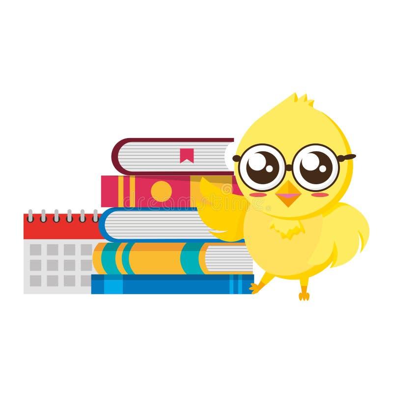 Estudante bonito da galinha com livros ilustração stock