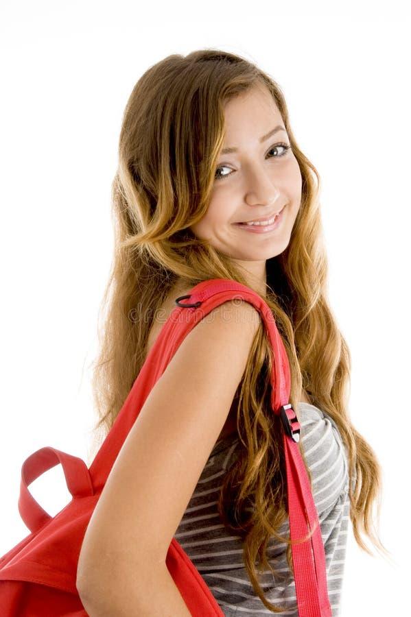Estudante bonito de sorriso com saco fotos de stock