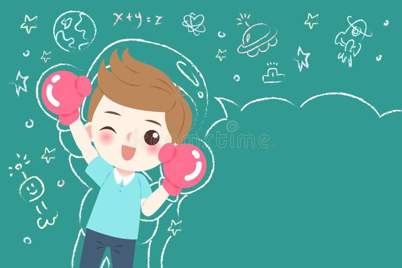 Estudante bonito do menino dos desenhos animados ilustração royalty free
