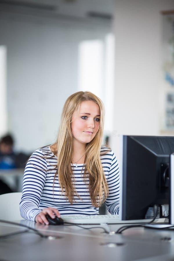 Estudante bonito, fêmea que olha um screena do computador de secretária imagens de stock