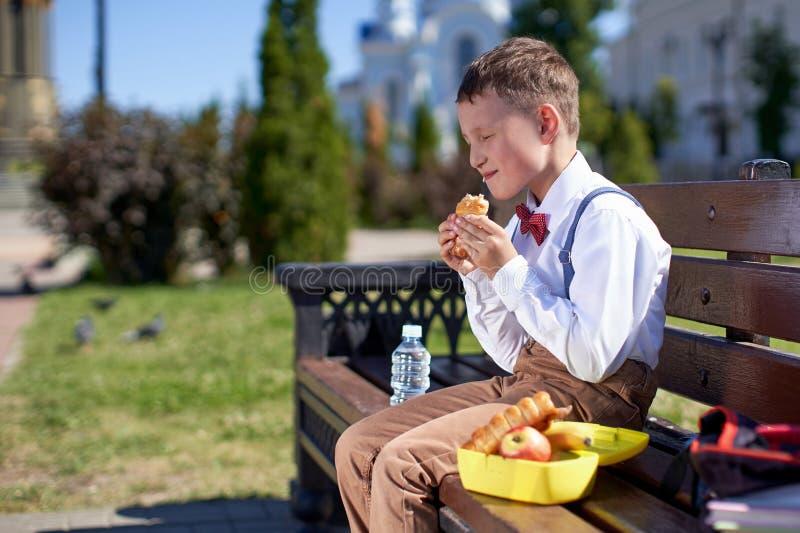 Estudante bonito que come fora a escola Caf? da manh? saud?vel da escola para a crian?a Alimento para o almoço, cesta de comida c imagem de stock royalty free