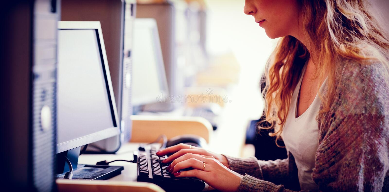 Estudante bonito que trabalha com um computador ilustração royalty free