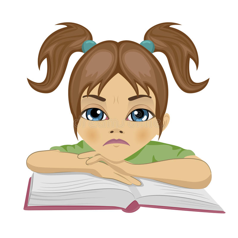 Estudante bonito triste que mantém seus braços no livro aberto ilustração stock