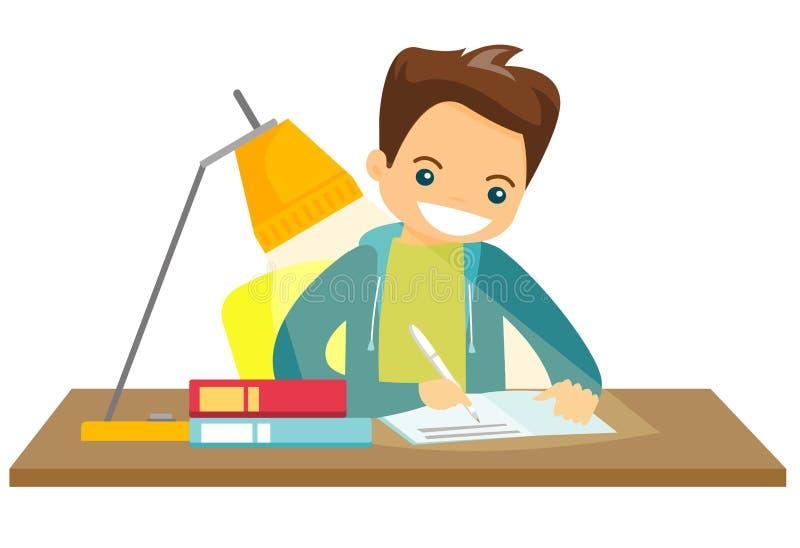Estudante branca caucasiano que faz trabalhos de casa ilustração stock