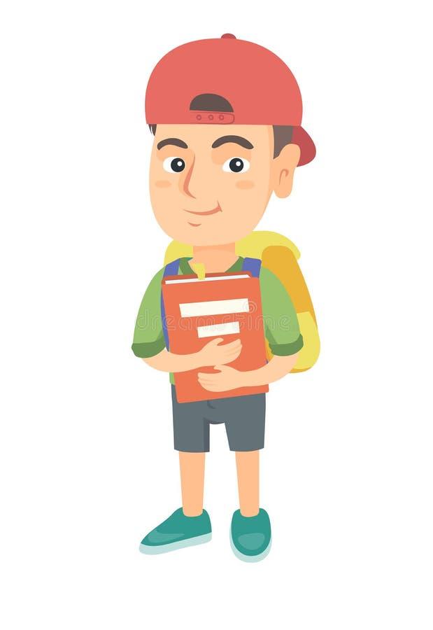 Estudante caucasiano com trouxa e livro de texto ilustração do vetor