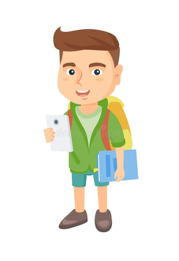 Estudante caucasiano que guarda o telefone celular e o livro de texto ilustração do vetor