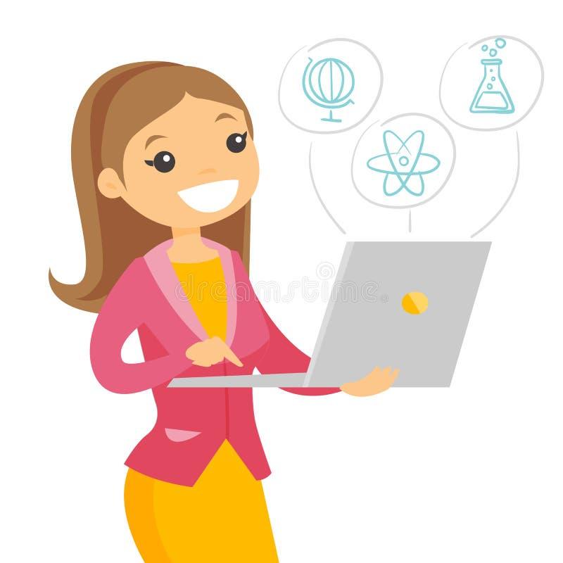 Estudante caucasiano que trabalha em um laptop ilustração do vetor