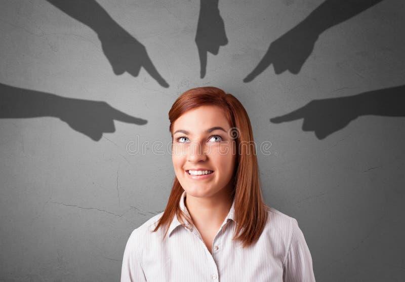Estudante com apontar o conceito das mãos fotos de stock