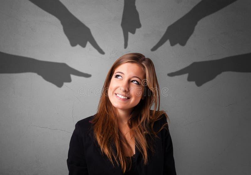 Estudante com apontar o conceito das mãos imagem de stock royalty free