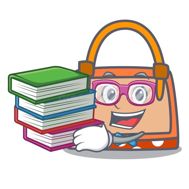 Estudante com desenhos animados da mascote da bolsa do livro ilustração do vetor