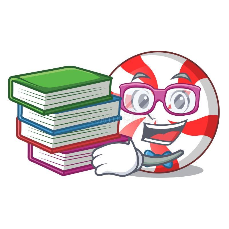 Estudante com desenhos animados da mascote dos doces de pastilha de hortelã do livro ilustração stock