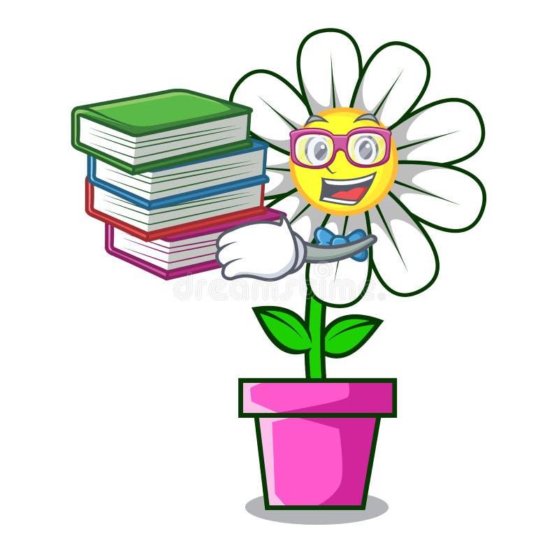 Estudante com desenhos animados da mascote da flor da margarida do livro ilustração stock